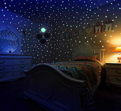 Glow in The Dark Stars & Moon Stickers for Kids Bedroom Walls & Ceiling of Starry Night Sky, 447 Adhesive Decals & Dots a 3D Planetarium Gift Set, Tested & (Stars Sparkle Design)