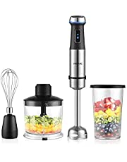 YISSVIC Hand Blender 1100W 4-in-1 24-Speed Immersion Hand Blender Set Stainless Steel with Beaker Food Chopper Whisk for Soup, Smoothies, Baby Food