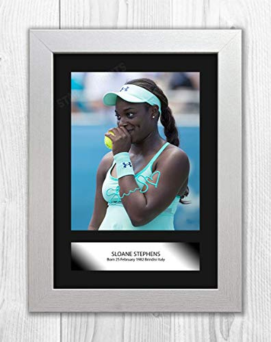 Engravia Digital Sloane Stephens (3) Mounted Poster Signed Autograph Reproduction Photo A4 Print (White Frame)
