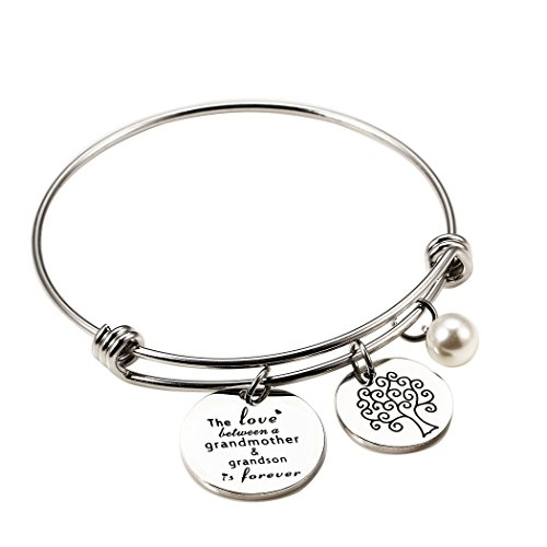 Meibai Grandmother Bracelet Stainless Steel Message Cuff Bangle Personalized Gift for Mother Nana (The Love Between Grandmother and Grandson is Forever) by Meibai