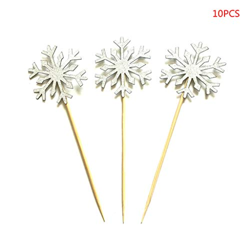 cici store 10 Pcs Snowflakes Birthday Cake Topper Decoration,Party Decoration For Baby Shower Wedding Party,Silver