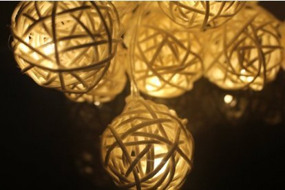 Halloween Yard Lights (Wish you have a nice day Rattan Ball Decoration String Lights,20 leds Christmas and Halloween String Lights Battery Operated for yard,holiday,Party,Wedding)