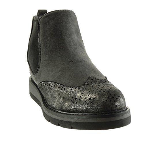 Grigio Bi Chelsea Donna Lucide materiale Cuciture Boots Scarpe Finitura Stivaletti Perforato 3 Da Cm Zeppe Scarponcini Tacco Angkorly Zeppa Moda Impunture Rw0qnv