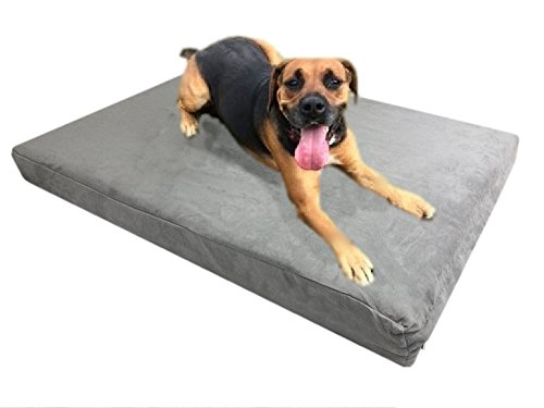 eConsumersUSA Orthopedic High Density Memory Foam Solid Pad Pet Dog Bed in size 41''x27''x4'' with Washable Gray Microfiber Suede Waterproof Gusset Case +BONUS FREE 2nd External Cover