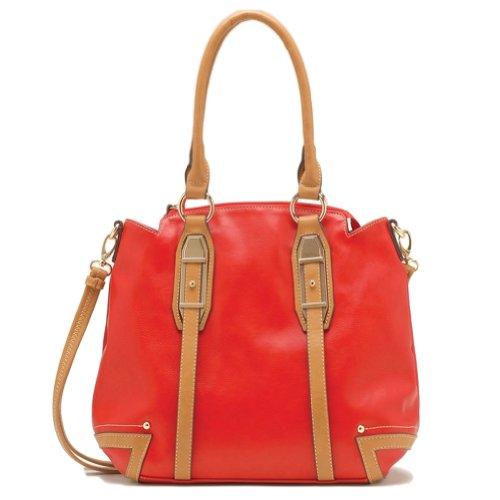 Tosca Double Metal Belted Handbag (Red) (Handbag Belted Hobo)