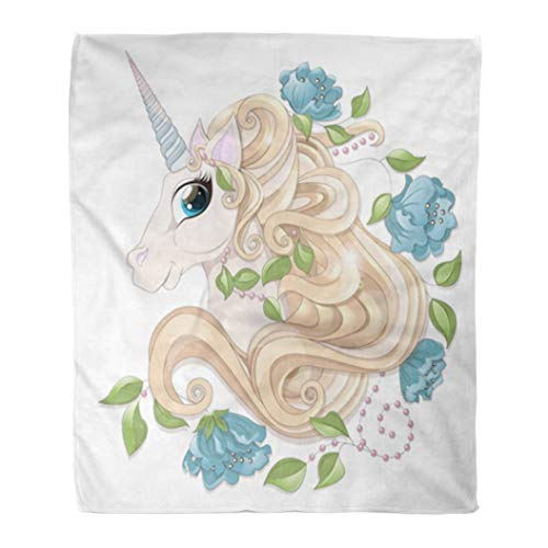 w Blanket Head of The Fairy Unicorn Golden Curly Mane Blue Horn Flowers Peonies Green Leaves Pearls Beads 60x80 Inch Lightweight Cozy Plush Fluffy Warm Fuzzy Soft ()