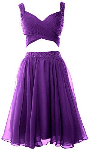MACloth Women 2 Piece Prom Homecoming Dress Mini Chiffon Formal Evening Dress Violett n0e6LO