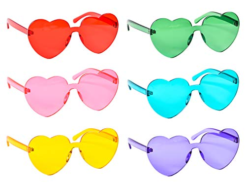 6 Pack Heart Shaped Rimless One Piece Sunglasses Transparent Candy Color Tinted ()