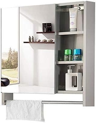 シングルドア医学内閣多目的ストレージオーガナイザーキッチン食器棚と浴室の壁のミラーキャビネット ハンギングキャビネット (Color : Silver, Size : 70x70x13cm)
