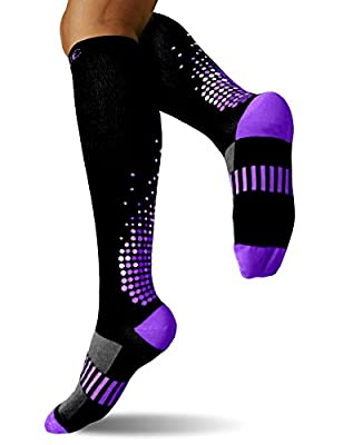 SUGUE Compression Socks (1 Pair) 20-30 mmHg for Women & Men - Best Graduated Athletic Fit for Running, Flight, Nurses, Maternity, Pregnancy - Shin Splints, Medical, Recovery