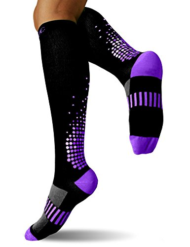 SUGUE Compression Socks (1 Pair) 20-30 mmHg for Women & Men - Best Graduated Athletic Fit for Running, Flight, Nurses, Maternity, Pregnancy - Shin Splints, Medical, Recovery (S/M, - Female Triathlete Best