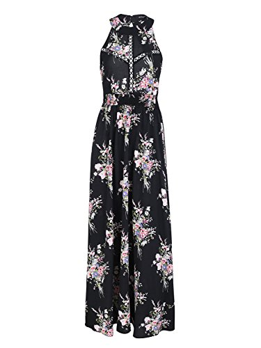 Simplee Women's Summer Casual Halter Neck Chiffon Floral Print Backless Long Maxi Dress,Black,10