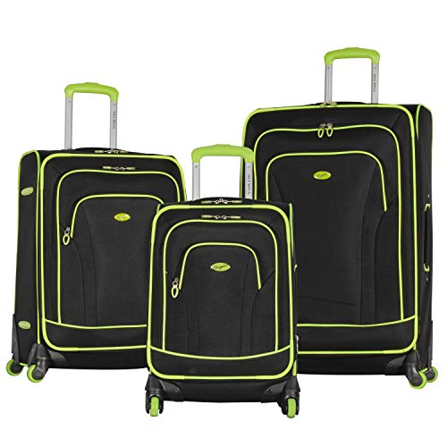 Olympia Santa Fe 3-Piece Exp. Luggage Set, BLACK+LIME