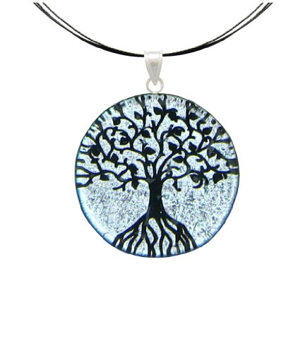 (Sterling Silver Dichroic Glass Silver Color Tree Of Life Pendant Necklace on Stainless Steel Wire-)