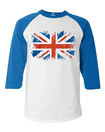 (Shop4Ever Union Jack British Flag Baseball Shirt United Kingdom Flag Raglan ShirtX-Large White/Blue16480)