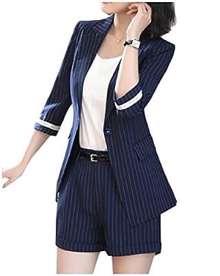 YUNY Women Stylish Pinstripe Notch Lapel Blazer Jacket Shorts Pants Navy Blue 3XL