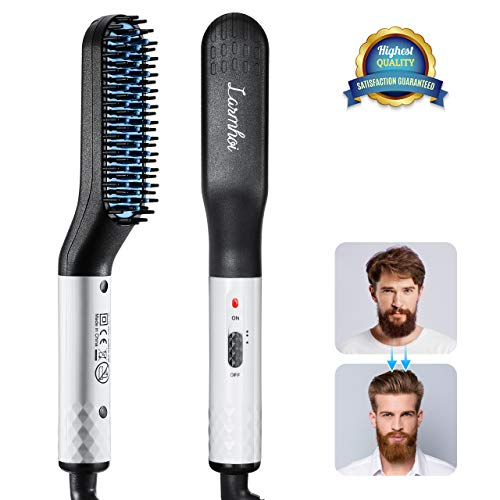 Beard and Hair Straightener Brush, LARMHOI Electric Comb with Side Hair Detangling, Curly Hair Straightening for Beard, Hair, Women Hair Straightening