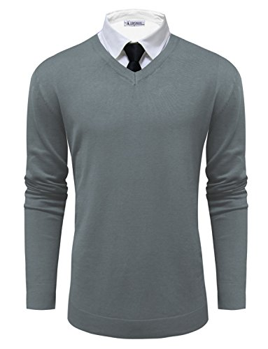 - Tom's Ware Mens Classic V-Neck Long Sleeve Sweater TWMV06-GRAY-US M