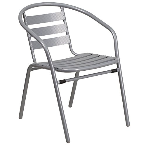 Flash Furniture Silver Metal Restaurant Stack Chair with Aluminum Slats (Plastic Patio Arm Chair)