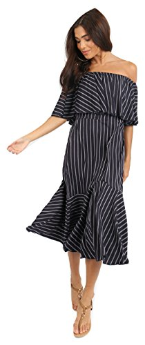 Ladies Stripe Double Layer Off Shoulder Peplum Frill Bardot Midi Dress US Size 4-10 (US 4(UK 8), Black) from Momo&Ayat Fashions