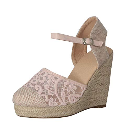 ◕‿◕Watere◕‿◕ Women Wedges Round Toe Sandals, Straw Hollow Wedges Peep-Toe Shoes Breathable Roman Sandals High Sandals Pink (Ralph Lauren Croc)