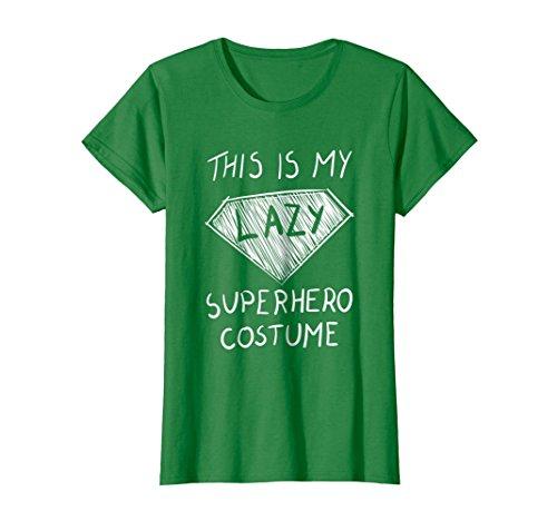 Womens This is My Lazy Superhero Costume T-Shirt Cute Halloween Tee XL Kelly Green -