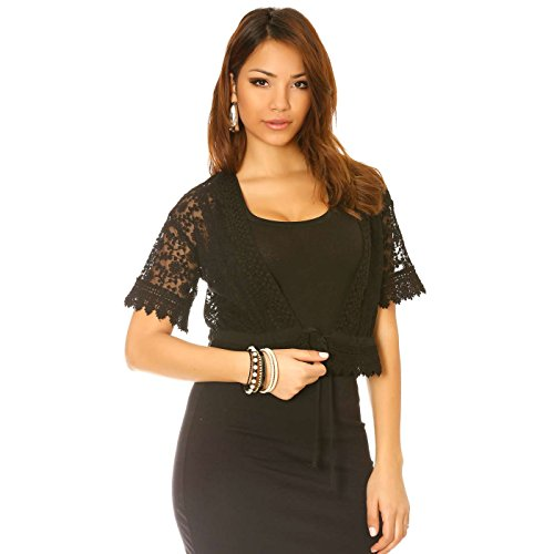 Miss Wear Line Gilet noir en dentelle pour habiller votre look, gilet femme dentelle