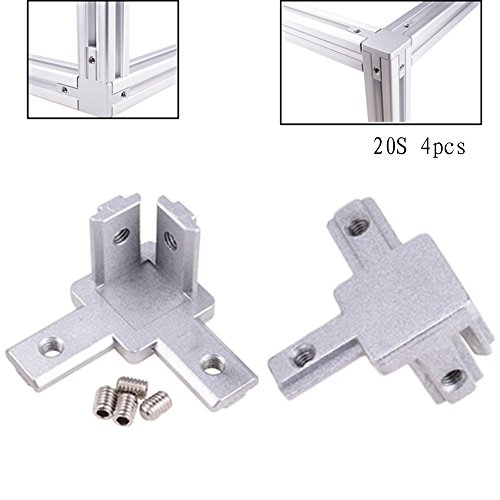 Boeray (20s) 3-Way End Corner Bracket Connector for Aluminum Extrusion Profile 2020 Series (Pack of 4, with Screws)