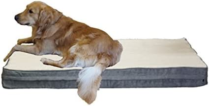 PetBed4Less Jumbo Super Large Premium Orthopedic Memory Foam Dog Bed with Replaceable External Zipper Cover Case and Waterproof Liner, 55x47x4 inches
