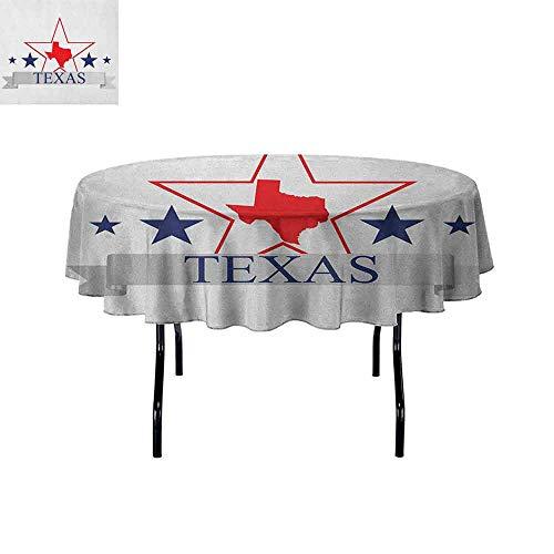DouglasHill Texas Star Waterproof Anti-Wrinkle no Pollution San Antonio Dallas Houston Austin Map with Stars Pattern USA Table Cloth D35 Inch Navy Blue Vermilion Pale -