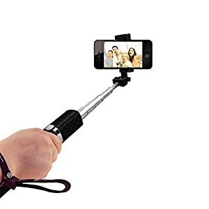 Kimitech Bluetooth Selfie Stick Foldable Extendable Selfie Stick with Built-in Remote Shutter for iPhone 7/7 plus/6/6s/Android&IOS Smartphones(Black)
