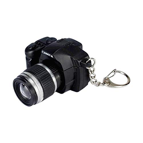 ZAMTAC GT 1/3pcs Camera Model with Sound/LED Flashlight Key Chain Fancy Mini Camcorders Keychains Simulation Cartoon Camera As Gifts - (Color: Black, Size: 3pcs per lot)