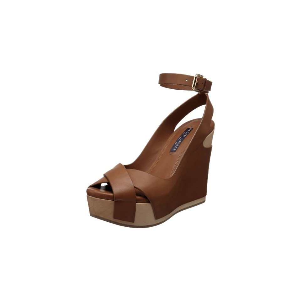 Ralph Lauren Collection Womens Filaria Ankle Strap Wooden Wedge Sandal,RL Gold,9 B