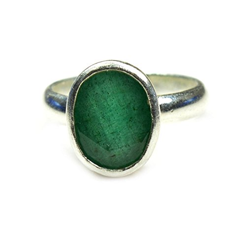 Gemsonclick Natural Green 3 Carat Emerald Silver Ring May Stone Chakra Healing Size 5,6,7,8,9,10,11,12,13 from Gemsonclick
