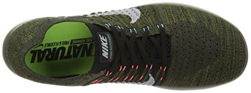 Nike Herren Free Rn Flyknit Laufschuhe Grün (cargo Khaki/black-blue Glow-bright Mango)