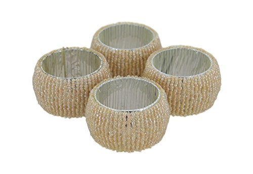 Shalinindia Handmade Beaded Napkin Rings Set With 4 Cream Glass Beaded Napkin Holders – 1.5 Inch in Size