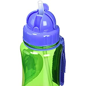 Skip Hop Zoo Straw Bottle, Holds 12 oz, Dakota Dinosaur