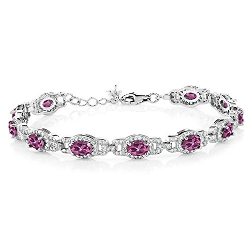 Gem Stone King 9.10 Ct Oval Pink Tourmaline 925 Sterling Silver 7 Inch Bracelet With 1 Inch Extender