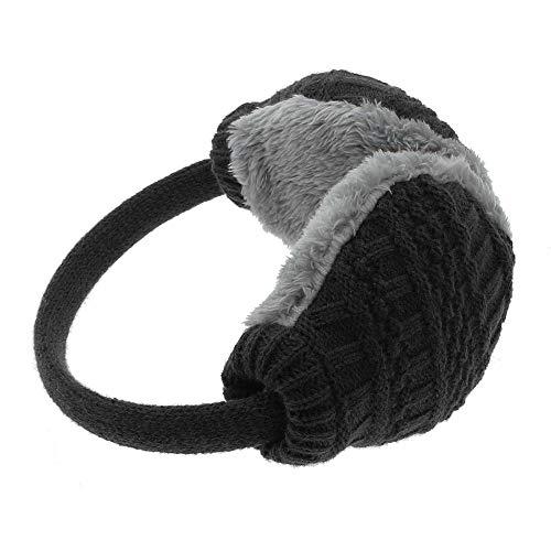 Knitted Wool Warm Earmuffs-FuSi Cute Faux Furry Adjustable Winter Earmuffs (Black)