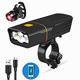 BESTSUN USB Rechargeable Bicycle Light, Super Bright 3 LED 3000 Lumen Bike Front