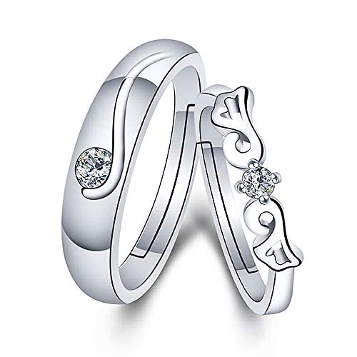 (TzrNhm Blossom Couples Matching Rings Adjustable Wedding Ring Gift for Girlfriend Best Gift for Valentines Promise Rings (Silver Couple Rings) )