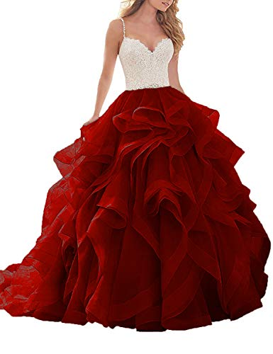Women's Organza Beach Wedding Dress Sweetheart Lace Bridal Gown Size 14 Red