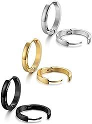 Jstyle Stainless Steel Mens Womens Hoop Earrings Huggie Ear Piercings Hypoallergenic