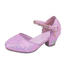 Zhhmeiruian Kids Girls Summer Princess Shoes Glitter Party Bridesmaids Low Heels