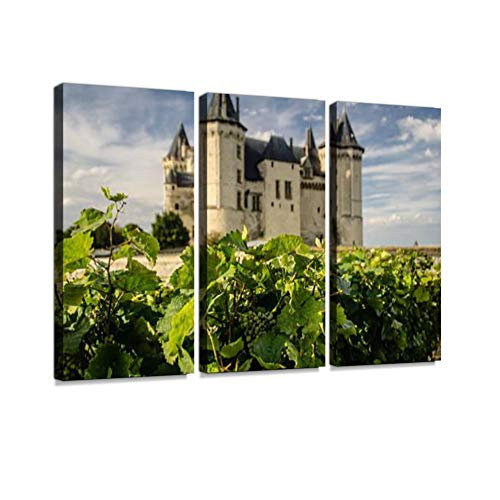 (7houarts Saumur, France Canvas Wall Artwork Poster Modern Home Wall Unique Pattern Wall Decoration Stretched and Framed - 3 Piece)