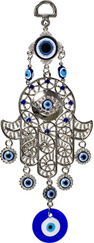 Hanging Glass Evil Eye Talisman - Filigree Hamsa Hand ()