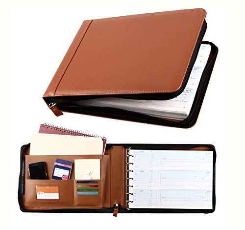 Business Check 7 Ring Binder for 3-Up Checks PU Leather Portfolio Checkbook Cover with Zipper (Light Brown) -