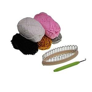Set de telar de 32 pinzas, útil para tejer calcetas, guantes, calentadores. Incluye 5 madejas de estambre de 25 gr, por Kurtzy TM