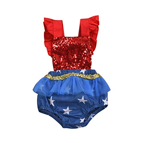 Huifa Independence Day Infant Baby Bodysuit 4th of July Stars and Striped Patriotic Backless Romper (Red,12-18 Months/90)