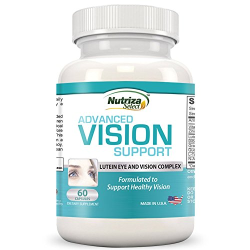 Nutriza Select Advanced Vision Support - Lutein Eye & Vision Complex with Lutein, Bilberry, Zinc, Grapeseed & Essential Vitamins - All Natural Retina Capsules for Eye Health - Made in USA